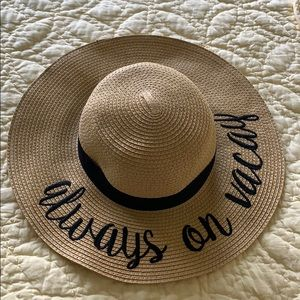 Accessories - Bold Cursive Embroidered Adjustable Beach Hat